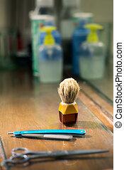 loja, navalha, close-up, barbeiro, escova