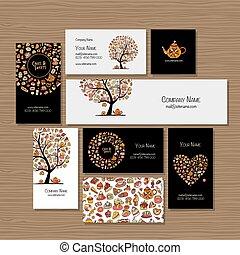loja, negócio, companhia, idéia, doces, desenho, cartões