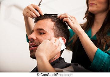 loja, ocupado, barbeiro, homem