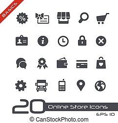 loja online, ícones, //, básico