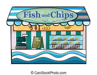 loja, peixe, lascas