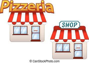 loja, pizzeria, caricatura, ícones