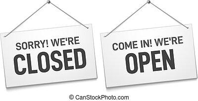loja, placas, porta, negócio, abertos, sinal., sinais, signboard, nós, ilustração, isolado, vetorial, fechado, ao ar livre, arrependido, venha