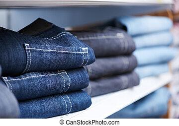 loja, prateleira, calças brim, roupas