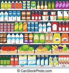 loja, prateleiras, com, produtos