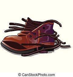 loja, reparar, close-up, objeto, antigas, illustration., marrom, shoes., solto, isolado, experiência., vetorial, sapato, branca, caricatura, ata