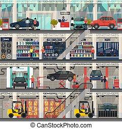 loja, reparar, dealership carro, quartos, lavagem