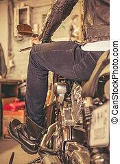 loja, reparar, motocicleta