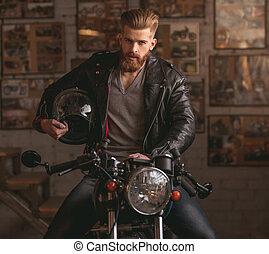 loja, reparar, sujeito, motocicleta