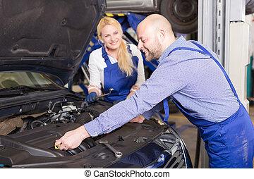loja, reparar, trabalhando, Automático, mecânico, assistente