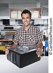 loja, reparo computador, proprietário, feliz