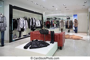 loja, roupa, seção, exterior, femininas