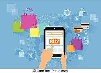 loja, sacolas, compra, shopping, tabuleta, botão, pc, dedo, toque, linha, loja