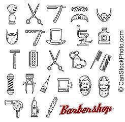loja, salão, esboço, ícones, vetorial, barbeiro, monocromático