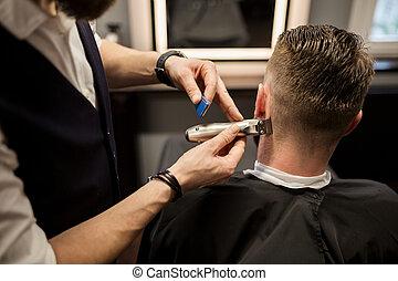 loja, sendo, homem, barbeiro, aparado