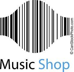 loja, som, ean, símbolo, barcode, onda, música