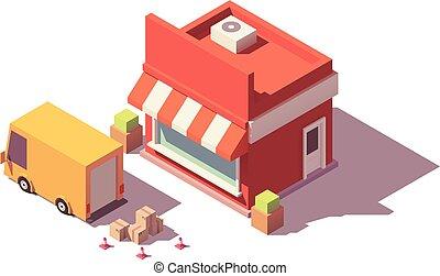 loja, vetorial, baixo, poly, ícone