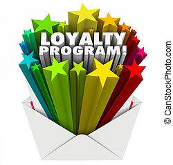 lojalitet, program, kuvert, inbjudan, marknadsföra,...