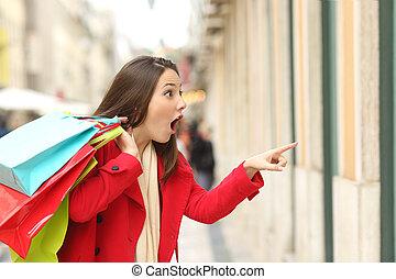 lojas, espantado, comprador, observar