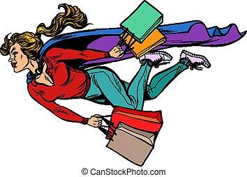 lojas, vendas, voando, descontos, mulher, shopping., superhero