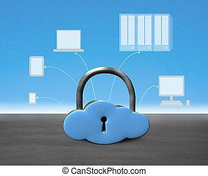 lok, formułować, chmura, urządzenia, obliczanie