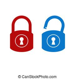 lok, odblokować, ikona