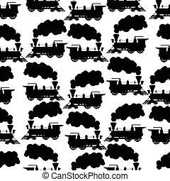 lok, silhouette, seamless, hintergrund, dampf
