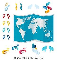 lokalisera, isometric, spårande, pin., spåra, navigera, map., kartläggande, ringa, gata, navigation, kartera, pointer., nålen, ställning, teknologi, röd, gps