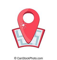 lokalisering, bakgrund, vit röd, karta stift