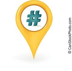 lokaliseringen, hashtag