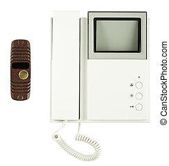 lokaltelefon, inre, video, yttre, utrustning
