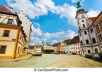 Loket main square and church, little town in the west of Czech Republic, Eastern Europe