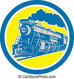 lokomotív, karika, kiképez, retro, gőz