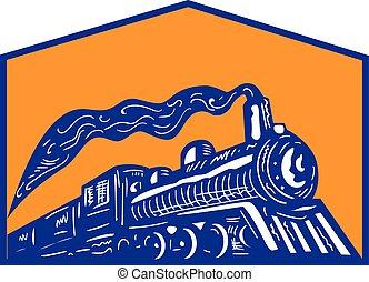 lokomotív, kiképez, retro, érkező, címer, gőz