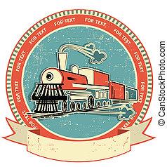lokomotiv, label.vintage, firmanavnet, på, gamle, tekstur