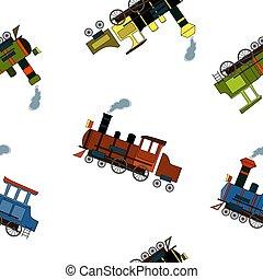 lokomotiven, weinlese, muster, seamless, stil, karikatur, dampf, weißes, hintergrund.