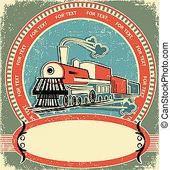 lokomotywa, label.vintage, styl, na, stary, struktura