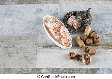 Lokum candies and nuts. High quality photo