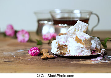 Lokum with almonds- Traditional tasty turkish sweets