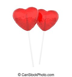 Lollihearts. Candy hearts on white.
