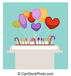 Lollipop and balloons in supermarket shop or grocery store vector flat design