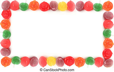 lollipop borders - various rainbow colored hard lollipop...