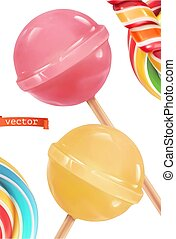 Lollipop candy, 3d realistic vector icon