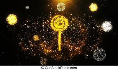 Lollipop Candy Icon on Firework Display Explosion Particles. Object, Shape, Text, Design, Element, Symbol 4K Animation.