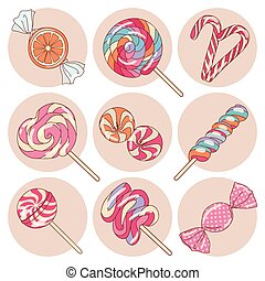 Lollipop candy isolated set