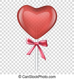 lollipop heart. Valentine day. Red heart. vector illustration