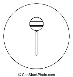 Lollipop icon black color in circle vector illustration isolated