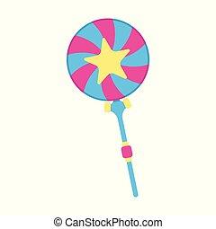 Lollipop icon. Fantasy World of the Unicorn. Cartoon style. Vector Illustration