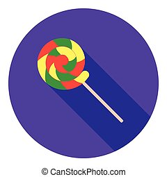 Lollipop icon in flat style isolated on white background. Circus symbol stock vector illustration.