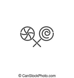 Lollipop icon in linear style on white background.